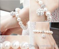 Wholesale Piercing Spirals - Bridal Accessories Fashion pearl diamond bracelet the bride intertwined spiral bracelets Bridal Jewelry bracelets hot sale for wedding event