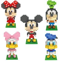 Wholesale Nano Mouse - 5pcs lot Mini LNO 7.5cm box kawaii Big head mouse nano 3d plastic puzzle cartoon model children gift educational Blocks 010-014