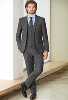 Wholesale Groom Suit Grey - Custom Made Fashion Dark Grey Men Business Suit Men Wedding Suits Groom Tuxedos Best man Suit Groomsman(Jacket+Vest+Pant)