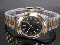 Wholesale Navy Blue Silver Bracelets - Automatic date calendar luxury diamond a face fashion Gold and silver bracelet of the alloy steel belt movement quartz male clock man gifts