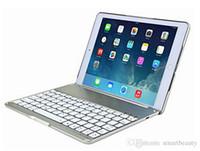 Wholesale Aluminium Ipad Cover - Wireless Bluetooth Keyboard Ultra Slim Aluminium Wireless Bluetooth Keyboard Carrying Stand Cover for iPad Air F8S With 3 Colors