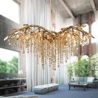 Wholesale Large Iron Pendant Light - Modern Minimalist Crystal Chandeliers Lustres Cristal Pendant Lamps G9 K9 Crystal Large Chandeliers Lighting for Hotel Deco