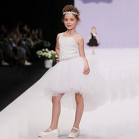 Wholesale Braces Wedding Dress - White Girls Dress Formal Party Wedding Dresses Floral Baby Girl Clothes Children Suspender Braces Dress Ball Gown Chiffon One-Piece Skirts