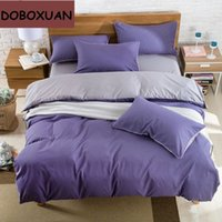 Wholesale Duvet Wool - Solid Double Color Grinding Wool Bedding Set Modern Style Adults Bed Hometextile Bedclothes Duvet Cover Bedspread Pillowcases