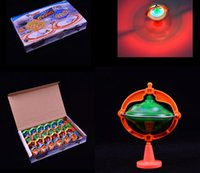 Wholesale Single Green Laser - Creative Magic Flash Top Music Brace Gyro New Laser Color Flash LED Light Music Gyro Peg-Top Spinner Spinning Kids Toy Spinning Top
