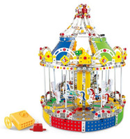 Wholesale Construction Model Kits - 3D Assembly Metal Model Kits Toy Carousel Merry Go Round With Music Box Building Puzzles 1423pcs Accessories Construction Play Set