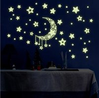 Wholesale Luminous Wall Stickers For Children - Moon Star Fluorescence Noctilucent Night Glow in Dark Luminous Vinyl Removable Nursery Kids Child Bedroom Wall Stickers TOP1747