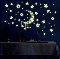Briller La Crèche Sombre Pas Cher-Moon Star Fluorescence Noctilucent Nuit Glow in Dark Luminous Vinyl Removable Nursery Kids Child Bedroom Wall Stickers TOP1747