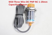 Wholesale wire measuring - Wholesale- 5Pcs M30 Three Wire DC PNP NC 1-20mm distance measuring capacitive proximity switch sensor -LJC30A3-H-Z AY
