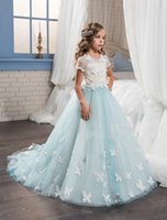 Wholesale Blue Flower Girl Tutu Dresses - New Arrival Blue and White Kids Formal Dress Lace Sleeves Crew Tutu Gown With Butterfly Pageant Dresses 2017 Long Flower Girl Dresses Lovely