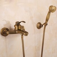 Wholesale Hotel Catering - Antique Brass Wall Mounted Neo-Classic Bathtub Faucet with Hand Shower Set Hot And Cold Cater General family and hotel