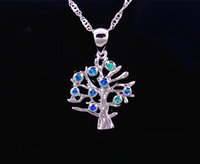 Wholesale Sterling Silver Fire Opal Jewelry - Wholesale & Retail Fashion Jewelry Fine Blue Fire Opal Blue Tree Stone Sterling Sliver Pendants For Women PJ17082715