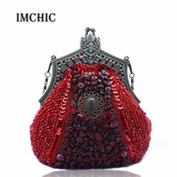 Wholesale Evening Beads Bags - Wholesale-2016 New women Evening party Bags Luxury Beads Clutch Handmade Vintage Phone Purse Banquet Wedding Handbags Wholesale Drop