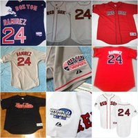 Wholesale Embroidery Collection - Men's Boston Red Sox MANNY RAMIREZ Baseball Sewn Jersey Throwback Stitched Embroidery Logos Baseball Jerseys Authentic Collection
