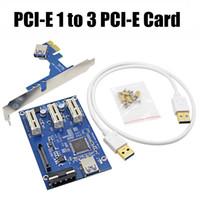 cartão expresso usb venda por atacado-PCI E 1 a 3 slots PCI Express 1X Placa Riser Mini ITX para adaptador de slot PCI-E externo 3 PCIe Port Multiplier Card