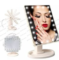 LED Make Up Mirror Cosmetic Desktop Portable Compact 16 luzes LED iluminado Travel Makeup Mirror for Women Black White Pink GLO