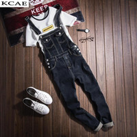 Wholesale men s button suspenders - Wholesale- Mens Denim Bib Overalls Vinatge Coverall Long Rompers Pants Casual Fashion Sexy Men's Torn Denim Jumpsuit With Suspenders
