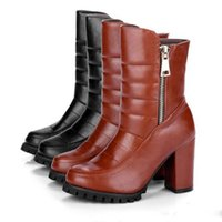 Wholesale Euramerican High Heels - In 2016, in the new round head thick with euramerican style leather boots Soft face warm high-heeled boots