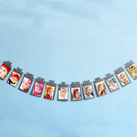 Wholesale Frames Stringing - Wholesale- DIY Monthly Paper 1st One Year Photo Booth Birthday Banner String Flag Accesorios Photo Frame Photos Album Party Decoration