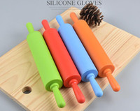 Wholesale Colour Dough - Nonstick Silicone Rolling Pin Pastry Dough Roller Bakeware Pastry Tools Professional Kitchen Tool 30cm Random Colour