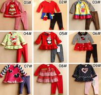 Wholesale Dress Set Girls Heart - XMAS INS 6M-3T children RARE EDITIONS 2Pc Set Girls Leopard Outfits infant girls Owl deer moose 2pc set baby polka heart dress pants