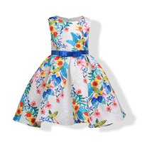 Wholesale Bow Dress For Kids - Kids Girls Bow Dresses 3-9Year Baby Girl Floral Print Party Dress for Infant Princess Christmas 2017 Autumn Children Clothes B880