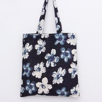 Atacado- YILE Cotton Linen Shopping Tote Shoulder Carrying Bag Eco saco reusável Floral Purple L108