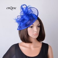 Wholesale Kentucky Derby Hats Royal Blue - New royal blue elegant and fashion teardrop sinamay fascinator with feathers for Kentucky Derby,Wedding,party,Church,races,free shipping