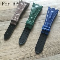 Wholesale 28mm Ships - Wholesale- New Arrived 28MM AP Watchbands,3 Styles to Choose,Blue Green Gray,Genuine Leather Watch Strap Belt bracelet,Free Shipping