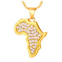 Wholesale golden maps - 2017 Popular Brand New Africa Map Necklace Women's Golden Necklace Fashion Inlaid Rhinestone Pendant Necklaces In Stock