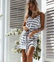 Wholesale Low Cut Sexy Mini Skirt - 2017 summer new sexy V-neck low-cut Harness dress skirt Navy wind belt belt dress fashion casual women clothing