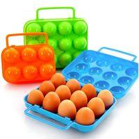 sepet saklama kapları toptan satış-Taşınabilir Plastik 6/12 Yumurta Konteyner Tutucu Saklama Kutusu Kasa Katlanır Sepet Taşınabilir Taşıma Yumurta Kutusu
