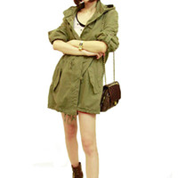 Wholesale Women S Military Trench Coat - New Women Winter Warm Army Green Military Parka Trench Hooded Coat Jacket