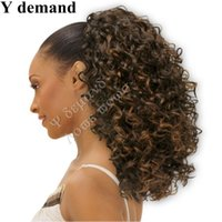 Wholesale brown hair celebrities - Fashion Long Hair Accessories Claw Ponytails Brown Afro Kinky Curly Celebrity Afro Kinky Curly Drawstring Ponytail Hair Extensions