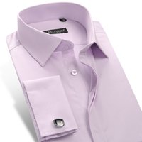 Wholesale Shirt Tailor - Wholesale- CAIZIYIJIA 2017 Men's Dress Shirt French Cuff Tailored Casual Slim Fit Long Sleeve Solid Color Men Shirts (Cufflinks Included)