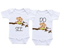 Wholesale Autumn Little Monkey - Baby 100%Cotton romper Little Monkey SEE&Do baby white clothes Twin Matching Outfits Boy Girl Twin Onesies Baby shower gifts Twin Bodysuits