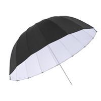 "Wholesale Fiberglass Heads - Wholesale- 105cm 41.3"" Rubber White & Black Reflective Parabolic Umbrella 16 Fiberglass Rib for Studio Photography"