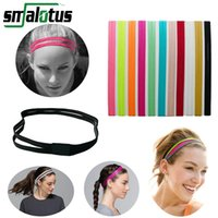 Wholesale Hair Bandage - Wholesale-Thin Elastic Sports Running Headband Softball Soccer Yoga Hair Band Rubber Anti-Slip Women Hair Accessories Bandage Scrunchy