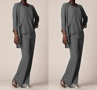 Wholesale Plus Size Fall Wedding Jacket - Elegant Grey Chiffon Mother of the bride Pant Suits With Jacket Long Sleeve Plus Size Three Pieces Wedding Mothers Guest Dress Custom Made