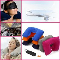 Wholesale Ear Plug Eye - New 3 in 1 outdoor camping car Travel Kit Set Inflatable neck rest Pillow cushion+black Eye Mask+ 2 Ear Plugs free shipping 1953