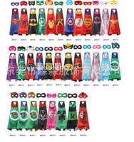 Wholesale Black Superhero Capes - Superhero kids capes with sets mask halloween black super statt cape for cosplay party Superman Batman children 32 cape+32 mask R0099