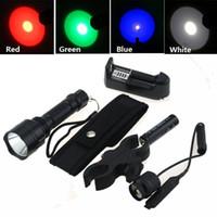 linternas de luz azul al por mayor-5 Modo Linterna de caza C8 Cree T6 Q5 LED Lámpara de trabajo Antorcha verde, azul, roja, luz blanca + funda + cargador + pistola de montaje + interruptor remoto