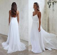 Wholesale Low Back Chiffon Wedding Gowns - 2017 Simple Beach Wedding Dresses Sexy Spaghetti Straps Lace Chiffon Boho Bridal Gowns Low Back Bohemian Dress