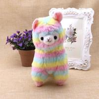 Wholesale Alpaca Baby - 1Pc Stylish Lovely Rainbow Alpaca Plush Toy Baby Stuffed Soft Plush Doll Gift 17cm