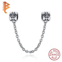 Wholesale Safety Chain For European Bracelet - BELAWANG 925 Sterling Silver Charm Hearts Safety Chain European Floating Charms Silver Beads For Pandora Snake Chain Bracelet DIY Jewelry