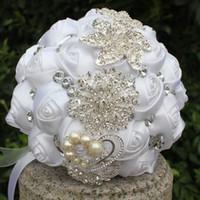 White Satin Wedding Bridal Bouquets Simulation Flower Wedding Supplies Artificial Flower Pearls Crystal Sweet 15 Quinceanera Bouquet W228-11