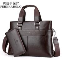 Wholesale 14 Laptop Shoulder Bag - FEIDIKABOLO Fashion Men PU Leather Crossbady Bag Men Handbags Male Designer Business Briefcase 14 inch Laptop Bag Shoulder Bags