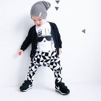 Wholesale Tshirt Toddler Cartoons - New Spring Autumn Ins Infant Baby Set Boys Kids Cartoon Letters Long Sleeve Tops Tshirt + Pants 2pcs Children Toddlers Cotton Outfits Set