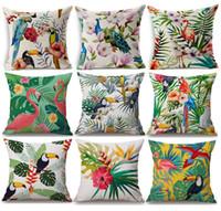 almohadas de loro al por mayor-Plantas Tropicales Flor Cubierta de Cojín de Piña Pájaro Loro Flamenco Tucán Hojas Verdes Fundas de Cojines Sofá Tiro Lino Funda de Almohada de Algodón