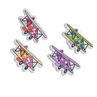 Wholesale Wholesale Wooden Shapes For Crafting - Kimter Multicolor Cartoon Airplane Shape Wooden Decorative Buttons With 2 Holes 1.95x3.2cm For Craft Garment Accessorie Pack Of 30pcs I475L